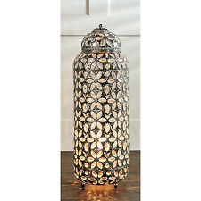 New Vintage Large Jewel Chrome Metal Moroccan Lantern Style Floor Table Lamp