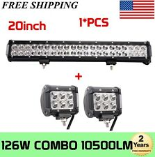 20'' 126W LED Work Light Bar Offroad Boat Truck Lamp Spot Flood Combo FREE 2X18W