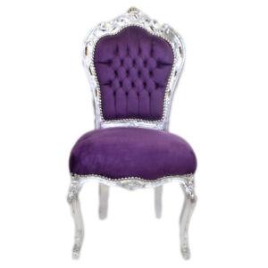 Barockstuhl lila silber antik repro desing lusux Stuhl Esszimmer Büro Esstisch