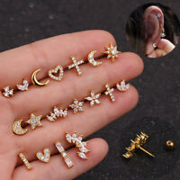 Crystal Moon Bar Ear Cartilage Tragus Helix Stud Piercing Earring Jewely Gifts