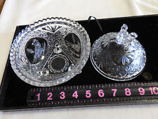 Hofbauer Lead Crystal Ruby Byrd Bird Footed Candy Dish & Cover Germany