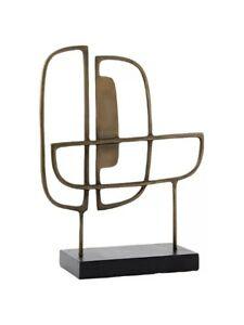 John Lewis West Elm Mid-Century Antique Brass Metal Sculpture, Double