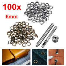 100x 6mm Brass Eyelets Silver Bronze Punch Tool Kit Leather Craft Clothes AU