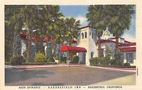 Bakersfield California 1940s Linen Postcard Bakersfield Inn Main Entrance