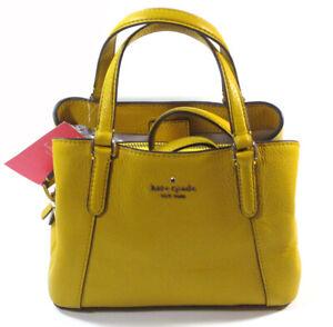 Kate Spade NY Sm Triple Compartment Satchel Jackson Vbrntcanr Yellow Purse NWT