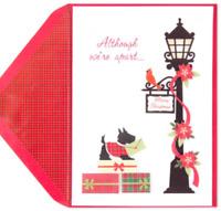 "Papyrus Christmas Card ""Although We're Apart"" 3D Scottish Terrier & Street Lamp"