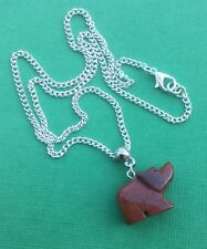 NEW! Red Jasper Gemstone Carved Bear Pendant Necklace Women's - Aussie Seller!!