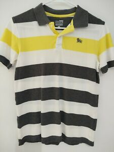 Old Navy Lg 10/12 Boys Polo White Gray And Yellow Stripped