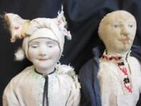 """Pair of Antique Cloth Painted Face Stockingette Dolls Possibly Russian? 15"""" High"""