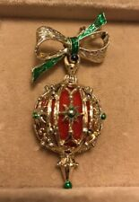 Vintage Gold Tone Dangle Christmas Tree Ball Pin Brooch Plastic Insert Red Green
