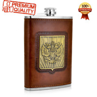 Whiskey Flask 9 oz Stainless Steel Brown Leather Russia's Emblem Printed Gift