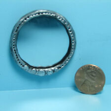 Dollhouse Miniature Handcrafted Silver Frame Round Wall Mirror SM-2