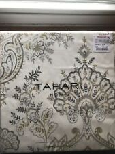 New Tahari Home Fabric Shower Curtain White w/Beige Tan Medallion Damask