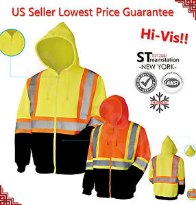 Hi Vis Hoodie ANSI Class 3 Safety Work Shirt Sweatshirt Fleece Black Bottom