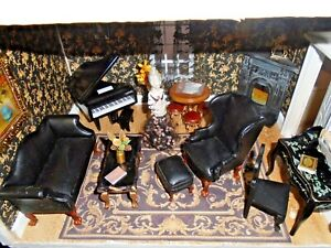 Black Themed Room Box Diorama Fully Furnished With Porcelain Half Doll