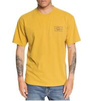 Quiksilver Mens T-Shirt Yellow Size 2XL Logo Print Graphic Crewneck Tee 147