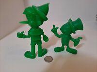 "1971 PINOCCHIO and Jiminy Walt Disney MARX Green Plastic 6"" Vintage Figurine"