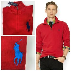Polo Ralph Lauren Big Pony Quarter Zip Knitted Sweater Jumper in Red