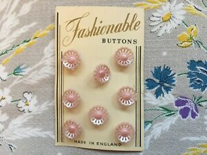 Set/card of 8 pretty vintage 12 mm baby pink plastic flower buttons with shank