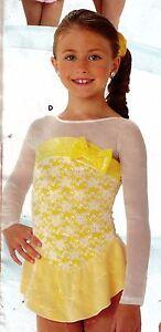 NWOT DANCE Skate dress Long Sleeve Mesh Velvet Bow Accent Child Sm 2 lyr skirt