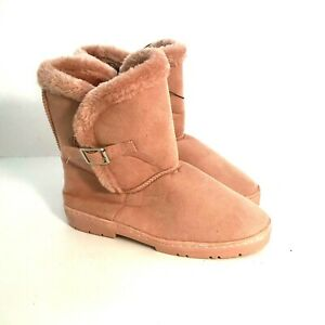 Chatz By Chatties Winter Boots Womens 9 Large Pink Faux Fur Lining  [A3]
