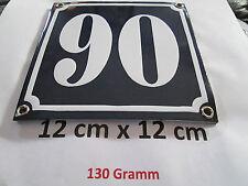 Hausnummer  Emaille Nr. 90  weisse Zahl auf blauem Hintergrund 12 cm x 12 cm