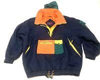 VINTAGE GANT Men's Jacket Nautical Colorblock Size XL MULTICOLORED Orange Green