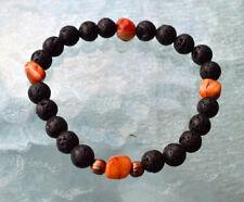 8mm Black Basalt Lava Stone Fire Agate Wrist Mala Beads Bracelet - Grounding