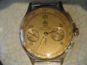 chronographe ancien SADA - LANDERON 248 - 37 mm hors couronne - plaqué-or