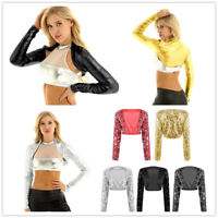Women Shiny Metallic Sequin Jacket Coat Long Sleeve Crop Top Bolero Shrug Dacne