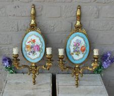 Gorgeous pair French Vieux paris porcelain Floral decor Wall lights sconces