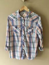 M&S INDIGO Pastel Check Shirt Blouse Cotton Size UK 12