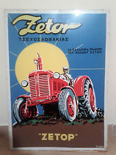 Vintage Zetor Czech Tractor Greek Advertising Metal Tin Sign