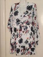 Dotti Size 8 Dress Bell Flared Sleeve Pleated Floral