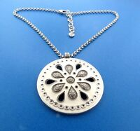 Brighton White Floral Crystal Enamel Necklace 2.25  x 16-18""