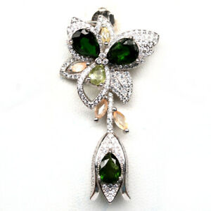 NATURAL GREEN CHROME DIOPSIDE, SAPPHIRE & CZ 925 STERLING SILVER PENDANT