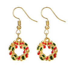 """1 5/8"""" Holiday Wreath Red Green Enamel Christmas Gold Plated Dangle Earrings"""