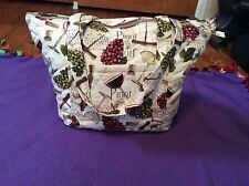 Handmade Quilted Purse French Wines 1 Outer & 6 Inner Pockets W Removable Insert