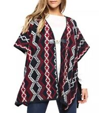 NWT $129 Tommy Hilfiger Aztec Winter Navy / Red Poncho Capes One Size