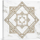 ARTCANVAS Art Deco Brown Lines on White Canvas Art Print