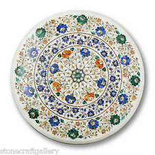 "36"" Marble Coffee Table Top Lapis Inlay Pietra dure Handmade For Home Decor"