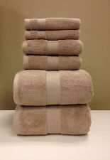 Cotton Plush 6 PC Taupe Towel Set Bath and Hand Towels Wash Cloth