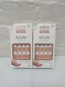 2 Kiss Salon Acrylic French Revolutionary French Nails, KSA16 Medium
