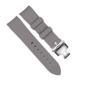 New Curved Bracelet Silicone Rubber Replacement Watch Band Strap Butterfly Clasp
