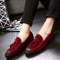 Mens Casual Shoes Suede Business Leather Loafers Slip On Tassel Dress Formal
