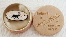 925 Sterling Silver & Guilloche Enamel Brooch ~ Norwegian Moose ~ Original Box