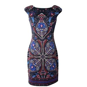 Maggy London Womens Multi Color Paisley Print Sheath Cocktail Dress Size 4