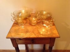 Cambridge Yellow vintage glass 6 cups 6 saucers 6 dessert plates Signed