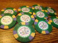 10 Ten United States Air Force Poker Chip Golf Ball Marker-Card Guard Green
