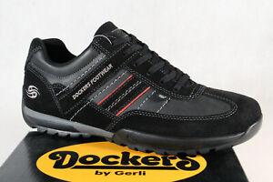 Dockers Homme Chaussures à Lacets Chaussures de Sport Basses Noir Cuir Neuf